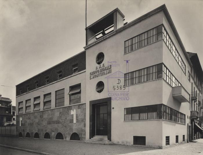 Sede del gruppo rionale fascista e montegani for Architettura fascista